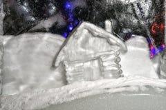 Χιονώδες σπίτι σε έναν φραγμό του πάγου Στοκ εικόνες με δικαίωμα ελεύθερης χρήσης