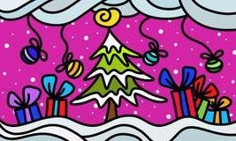 Χιονώδες τοπίο με τα δώρα Στοκ εικόνες με δικαίωμα ελεύθερης χρήσης