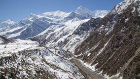 Χιονώδες τοπίο στο κύκλωμα Annapurna στο Νεπάλ Στοκ φωτογραφίες με δικαίωμα ελεύθερης χρήσης