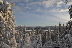 Χιονώδες τοπίο τη σαφή ημέρα Στοκ Φωτογραφίες