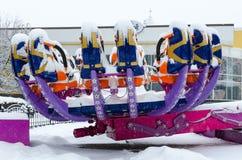Χιονώδες Zodiac έλξης στο χειμερινό πάρκο κατά τη διάρκεια των χιονοπτώσεων, Gomel, Β Στοκ φωτογραφίες με δικαίωμα ελεύθερης χρήσης