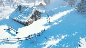 Χιονώδης λίγη καλύβα στην από επάνω προς τα κάτω άποψη χειμερινής ημέρας Στοκ εικόνες με δικαίωμα ελεύθερης χρήσης