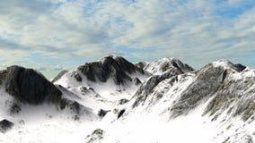 Χιονώδης αιχμή βουνών βουνών με τον ουρανό Στοκ Εικόνα