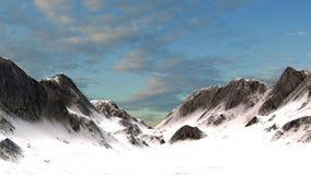 Χιονώδης αιχμή βουνών βουνών στο ηλιοβασίλεμα Στοκ Εικόνα