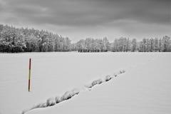 Χιονώδης δείκτης τοπίων και χιονιού, οδικός δείκτης Στοκ Εικόνες