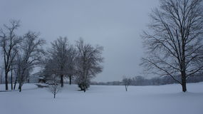 Χιονώδης ημέρα έξω στον τομέα Στοκ φωτογραφίες με δικαίωμα ελεύθερης χρήσης