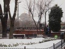 Χιονώδης ημέρα στη Ιστανμπούλ στοκ εικόνα