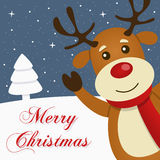 Χιονώδης κάρτα Χαρούμενα Χριστούγεννας ταράνδων διανυσματική απεικόνιση