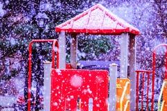 Χιονώδης παιδική χαρά Στοκ Εικόνες