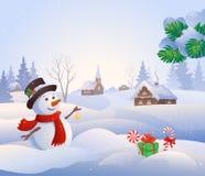 Χιονώδης σκηνή διανυσματική απεικόνιση