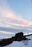 Χιονώδης χειμερινή σκηνή σε Σκανδιναβία Στοκ Φωτογραφίες
