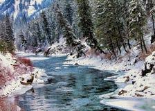 Χιονώδης χειμερινός ποταμός Στοκ Εικόνα