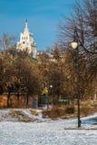 χιονώδης χειμώνας δέντρων πάρκων φύσης Ιανουαρίου παγετού ημέρας Στοκ εικόνα με δικαίωμα ελεύθερης χρήσης