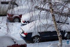 Χιονώδης χειμώνας αυτοκινήτων Στοκ φωτογραφίες με δικαίωμα ελεύθερης χρήσης