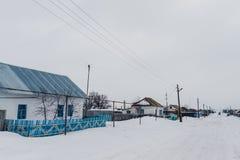 Χιονώδης χειμώνας στο χωριό Στοκ Εικόνες