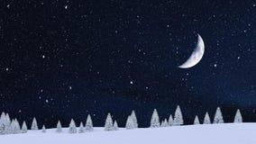 Χιονώδη έλατα στο πανόραμα χειμερινής νύχτας χιονοπτώσεων 4K απεικόνιση αποθεμάτων
