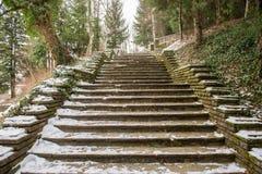 Χιονώδη σκαλοπάτια το χειμώνα Στοκ φωτογραφία με δικαίωμα ελεύθερης χρήσης