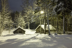 Χιονώδη σπίτια με τα χιονώδη δέντρα Στοκ Εικόνα