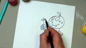 Χιουμοριστική εικόνα μολυβιών απόθεμα βίντεο