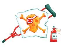 χιούμορ Ιατρική Φιάλη φαρμακείων δεκανίκι Άσπρη σημαία στο κρανίο και τα κόκκαλα η διακοσμητική εικόνα απεικόνισης πετάγματος ραμ διανυσματική απεικόνιση