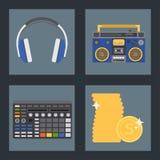 Χιπ χοπ βοηθητικό διανυσματικό μουσικών οργάνων εξαρτημάτων εκφραστικό σημάδι εφήβων του DJ ραπ breakdance εκφραστικό απεικόνιση αποθεμάτων