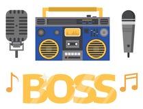 Χιπ χοπ βοηθητικό διανυσματικό μουσικών οργάνων εξαρτημάτων εκφραστικό σημάδι εφήβων του DJ ραπ breakdance εκφραστικό διανυσματική απεικόνιση