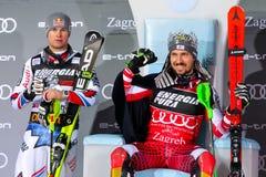 Χιόνι βασίλισσα Trophy 2019 τελετή βραβεύσεωης Slalom των ατόμων στοκ εικόνα με δικαίωμα ελεύθερης χρήσης