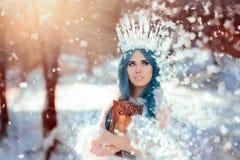 Χιόνι βασίλισσα Holding Mirror στη χειμερινή φαντασία στοκ φωτογραφίες