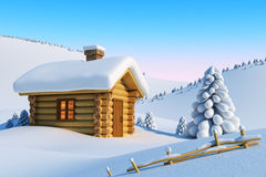 χιόνι βουνών σπιτιών απεικόνιση αποθεμάτων