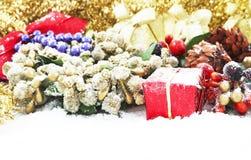 χιόνι διακοσμήσεων Χριστ&om Στοκ Φωτογραφία