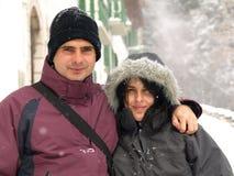 χιόνι ζευγών Στοκ Φωτογραφίες
