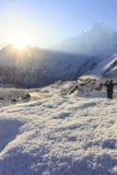 Χιόνι και βουνό του Ιμαλαίαυ Machapuchare με την ανατολή, στο στρατόπεδο βάσεων Annapurna, Νεπάλ Στοκ Φωτογραφία