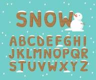 Χιόνι και ξύλινο αλφάβητο Στοκ εικόνες με δικαίωμα ελεύθερης χρήσης