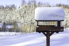 Χιόνι ΚΑΠ στον τροφοδότη πουλιών μετά από βαριές χιονοπτώσεις Στοκ φωτογραφία με δικαίωμα ελεύθερης χρήσης