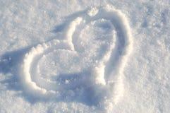 χιόνι καρδιών Στοκ φωτογραφίες με δικαίωμα ελεύθερης χρήσης