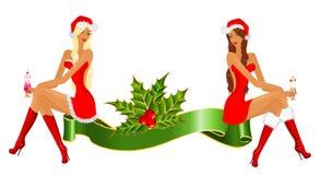 χιόνι κοριτσιών δώρων διανυσματική απεικόνιση