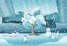 Χιόνι με τα ζώα και το χιονίζοντας υπόβαθρο ελεύθερη απεικόνιση δικαιώματος