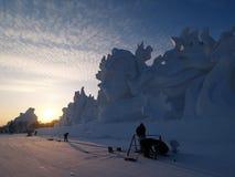 Χιόνι νησιών ήλιων τοπίου του Χάρμπιν Στοκ Εικόνες