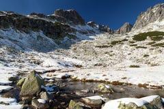 Χιόνι-ντυμένη κοιλάδα στο υψηλό Tatras, Πολωνία στοκ εικόνες με δικαίωμα ελεύθερης χρήσης