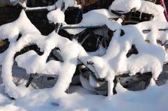 χιόνι ποδηλάτων του Άμστερ& Στοκ φωτογραφία με δικαίωμα ελεύθερης χρήσης