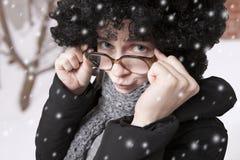 χιόνι πορτρέτου Στοκ Φωτογραφία