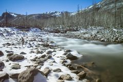 χιόνι ποταμών φύσης σύνθεσης μαλακά Στοκ Εικόνες