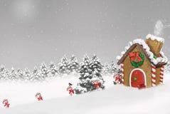 χιόνι σπιτιών μελοψωμάτων ελεύθερη απεικόνιση δικαιώματος