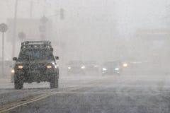 Χιόνι στην οδική πόλη Στοκ εικόνα με δικαίωμα ελεύθερης χρήσης