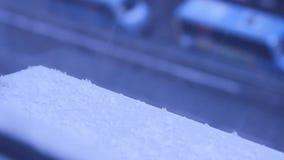 Χιόνι στην πόλη απόθεμα βίντεο