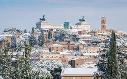 Χιόνι στη Ρώμη το Φεβρουάριο του 2018, πανοραμική άποψη από το πορτοκαλί degli Aranci Giardino κήπων στο λόφο Aventine στοκ εικόνα με δικαίωμα ελεύθερης χρήσης
