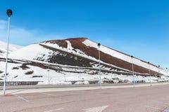 Χιόνι στον κρατήρα στο υποστήριγμα etna Στοκ φωτογραφία με δικαίωμα ελεύθερης χρήσης