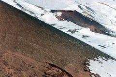Χιόνι στον κρατήρα στο υποστήριγμα etna Στοκ Εικόνες
