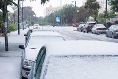 Χιόνι στο Ισραήλ. 2013. Στοκ Φωτογραφία