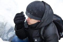Χιόνι στο πρόσωπο Στοκ εικόνες με δικαίωμα ελεύθερης χρήσης